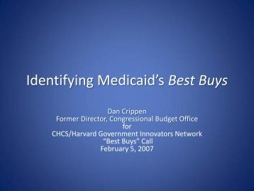 Identifying Medicaid's Best Buys