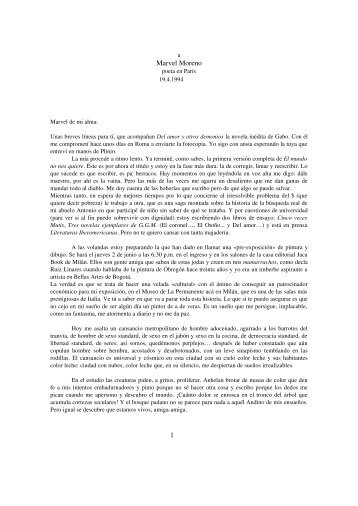 Carta a Marvel Moreno. Milán,19 de abril de 1994