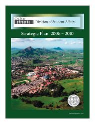 Strategic Plan 2006 – 2010 - Division of Student Affairs