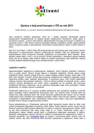 Zprávy o boji proti korupci v ČR za rok 2011 - Bezkorupce