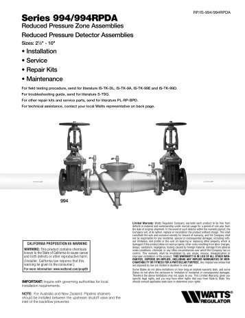 Series 994/994RPDA - Backflow Supply