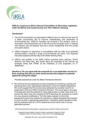 secondary legislation under Part 4 of the Marine and ... - UKELA