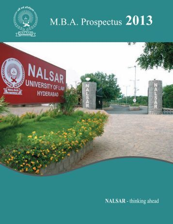 MBA Prospectus 2013 - NALSAR University of Law