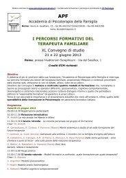 I PERCORSI FORMATIVI DEL TERAPEUTA FAMILIARE XL ...