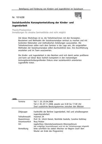Nr. 1014/08 Sozialräumliche Konzeptentwicklung der ... - Spinnenwerk