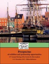 Exhibitor Prospectus - Society for Risk Analysis