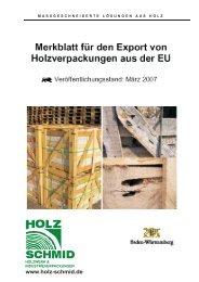 Merkblatt für den Export von Holzverpackungen aus der EU