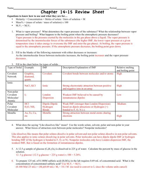 Chapter 14-15 Review Sheet
