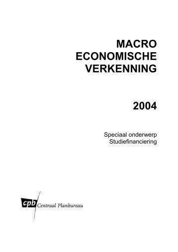 MACRO ECONOMISCHE VERKENNING 2004 - Centraal Planbureau