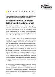 Monster und WEB.DE bieten Jobbörse mit Karrierejournal