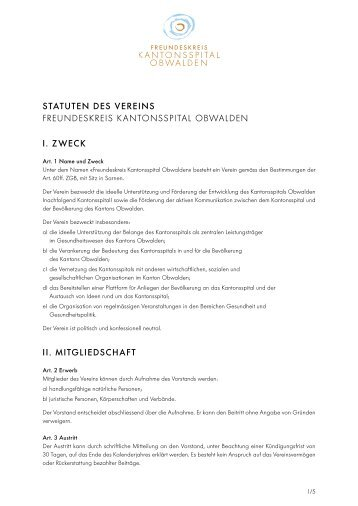 Vereinsstatuten - Kantonsspital Obwalden
