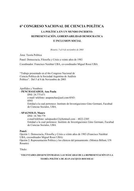 Penchaszadeh Spagnol Sociedad Argentina De Anã Lisis
