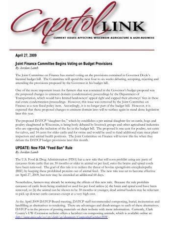 Capitol Link ~ April 2009 (pdf) - Professional Dairy Producers of ...