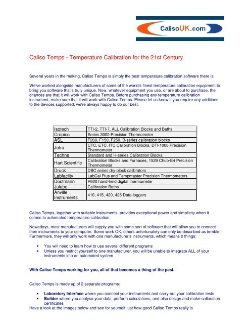 Caliso Temps - Temperature Calibration for the 21st