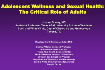 Adolescent Wellness And Sexual Health - Healthcare Professionals