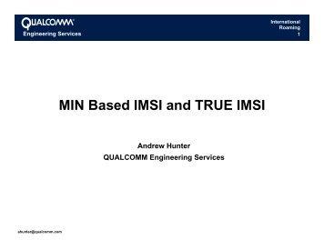 MIN Based IMSI And TRUE IMSI – CDG