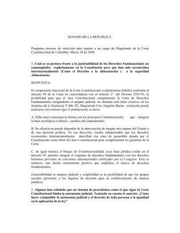 SENADO DE LA REPUBLICA. Preguntas proceso de selección para ...