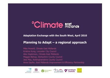 Planning to Adapt – a regional approach - Our South West