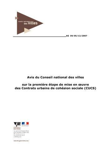 Avis du Conseil national des villes sur la première étape de mise en ...