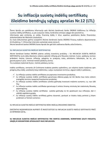 Su infliacija susietų indėlių sertifikatų išleidimo bendrųjų ... - Snoras