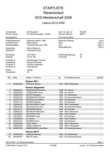 STARTLISTE Riesentorlauf SCO-Meisterschaft 2008