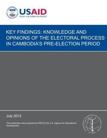 key findings: knowledge and opinions of the electoral process ... - IFES