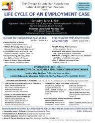 life cycle of an employment case - Orange County Bar Association