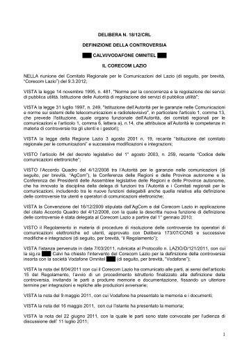 Delibera 18/12/CRL - Corecom Lazio