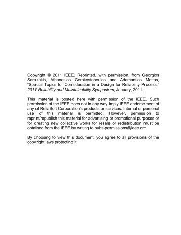 Copyright © 2011 IEEE. Reprinted, with permission, from ... - ReliaSoft