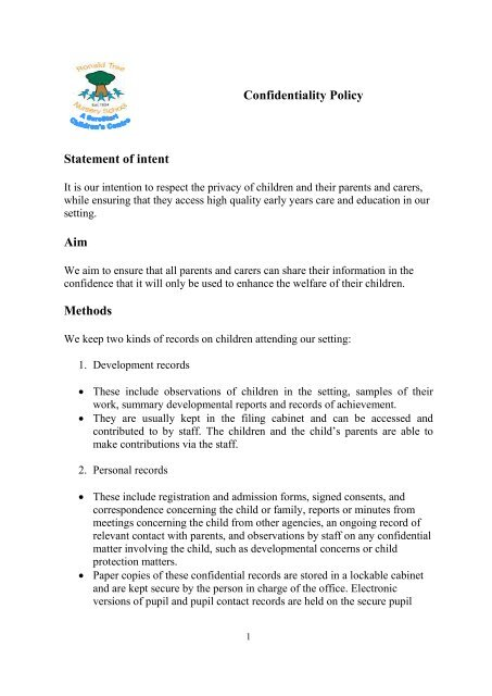 Confidentiality Policy - Ronald Tree Nursery School and Children's