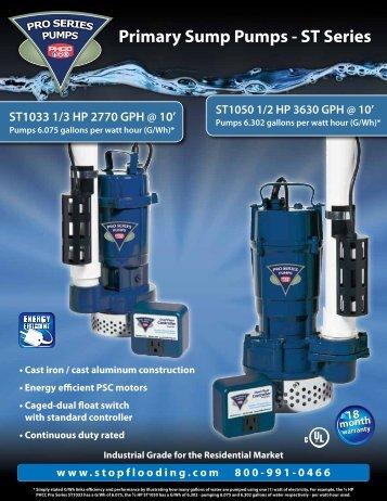 Primary Sump Pumps - ST Series - PHCC Pro Series Sump Pumps