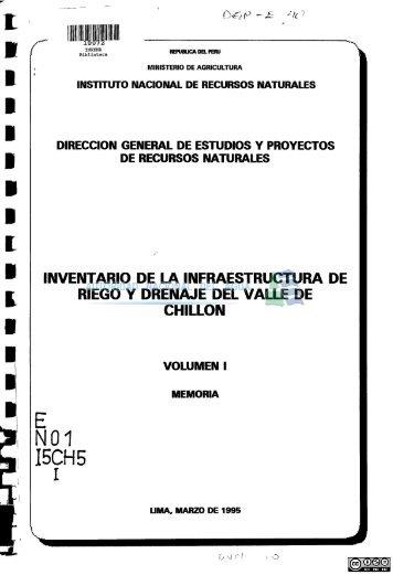 inventario de la infraestructura de riego y drenaje del valle de chillón