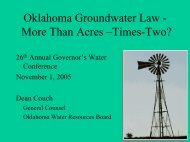 Overview Oklahoma Groundwater Law - Water Resources Board
