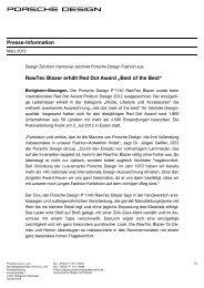 RawTec Blazer erhält Red Dot Award - PORSCHE DESIGN ...