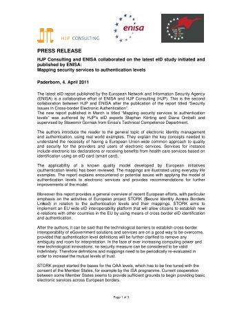 HJP_ENISA_STORK_PRESS RELEASE_R1 ... - HJP Consulting