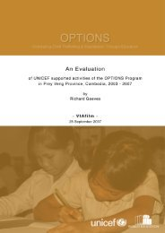 OPTIONS Evaluation of UNICEF-Supported Activities in Prey Veng