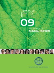 Annual Report Fiscal Year 2009/2010 - Human Frontier Science ...