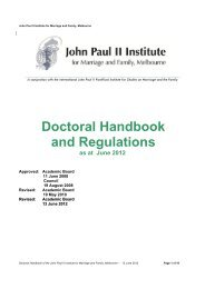 Doctoral handbook - John Paul II Institute for Marriage and Family ...
