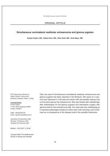 Simultaneous contralateral vestibular schwannoma and glomus ...