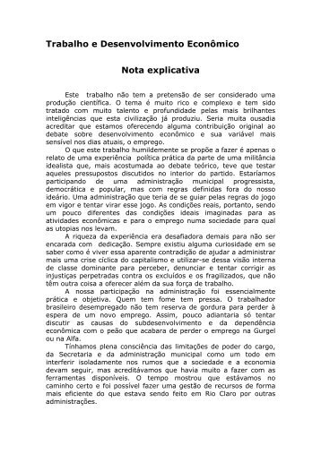 Trabalho e desenvolvimento econômico - Claudio Di Mauro