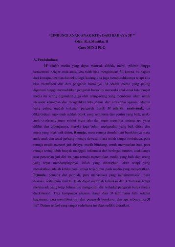 LINDUNGI ANAK-ANAK DARI BAHAYA 3F - Kemenag Sumsel