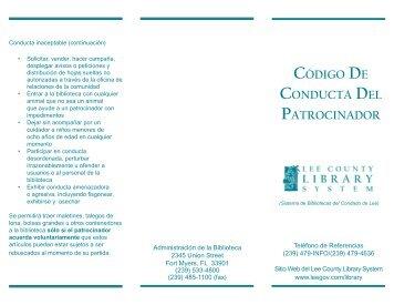 Código de Conducta del Patrocinador - Lee County Library System