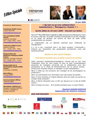 NEWSLETTER EDITION SPECIALE - euma france