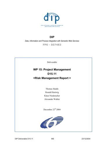 Risk Management and Contingency planning - DIP - Semantic Web