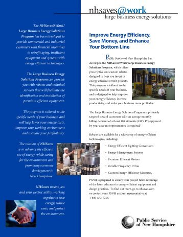 Large Business Retrofit Program Brochure - PSNH.com