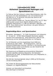 Jahresbericht 2006 Alzheimer Gesellschaft Hattingen und ...