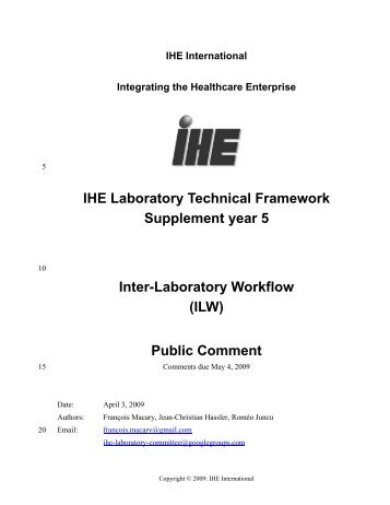 Inter-Laboratory Workflow (ILW) Profile Supplement - IHE