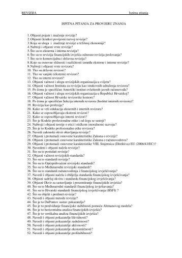 REVIZIJA Ispitna pitanja ISPITNA PITANJA ZA PROVJERU ZNANJA ...