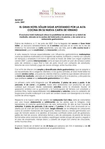 El GHS presenta su nueva carta de verano - Gran Hotel Sóller