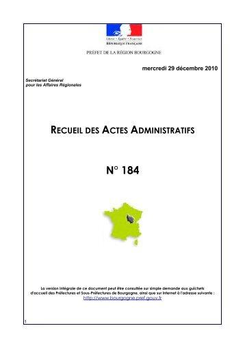 RAA 184 - Préfecture de la Côte-d'Or